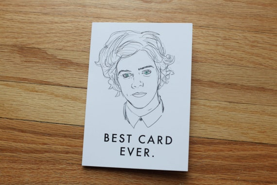 Items similar to one direction greeting card harry styles for Best holiday cards ever