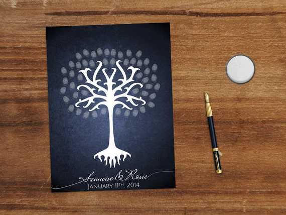 White Tree Fingerprint Wedding Guest Book Printable - Lord of the Rings
