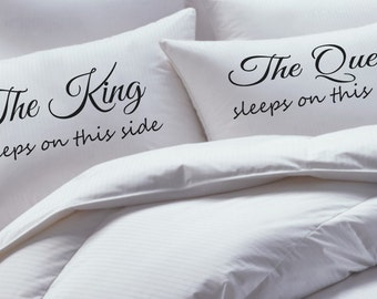 King and Queen Pillowcase Set, his hers pillowcase set, mr mrs pillowcase set