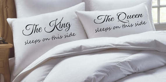 King and Queen Pillowcase Set Wedding Gift Couples Pillowcases Our thread count, % Egyptian cotton pillowcase measures approx. W x 30L and will fit a standard size pillowcase. 2 Hem on Open Side. King size are available upon request. Specially dyed, directly into the.