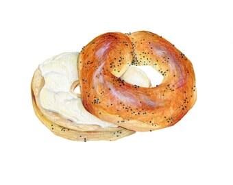 Bagel Art // Food Illustration // Archival Art Print // Poppyseed Bagel