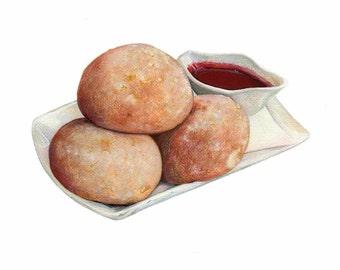 Beignet Art // Food Illustration // Art Print, Food art