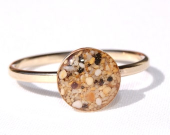 14K Gold-filled Kauai Sand Ring, Sand Jewelry Capturing Your Memories.
