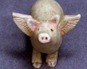 Handmade Ceramic Flying Pig Sculpture