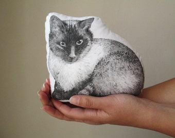 Custom pet plush Personalized cat portrait mini pillow cat totem cat plush in memory of pet animal drawing black and white