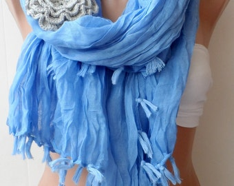 Super elegant scarves,Blue cotton scarf, Long scarf, fringe scarf, Silk scarf, Summer scarf, LACE scarf, Blue scarf, Bridesmaid scarfs