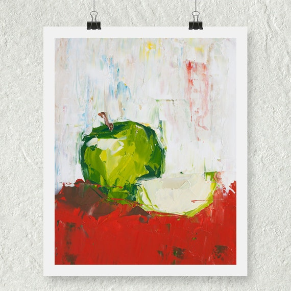 Apple decor green apple print kitchen art print fine art - Green apple kitchen decor ...