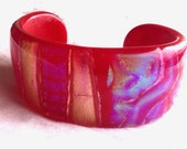 Handmade Glass Statement Bright Marbled Iridescent Striped Mosaic Bangle Bracelet Cuff in Pink, and Red
