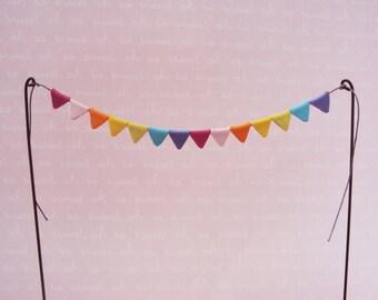 Fairy Garden Bunting Flags, Miniature Garden Pennant. Fairy Flags, Miniature Bunting, Pastel Bunting, Polymer Clay Flags