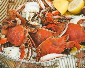 Crab Boil Photograph, Wall Art, Louisiana Photograph Cajun Art Creole Art, Cajun Food Photography Print, Red Yellow White Silver