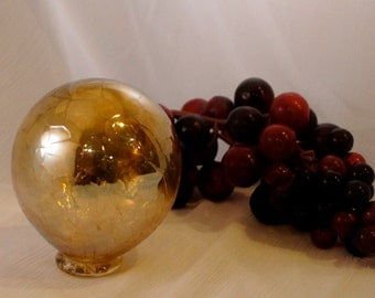 Glass Float / Ball Ornament, Silvery Amber Hand Blown Orb.