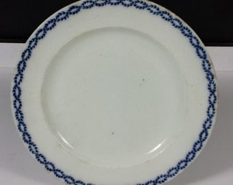 Booths Silicon China Flow Blue Wreath Pattern Plate Vintage