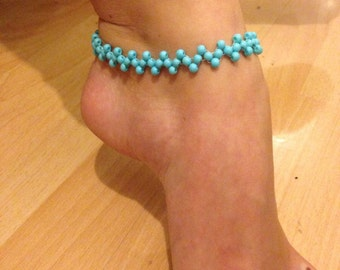 Zigzag anklet/ankle bracelet turquoise glass beads boho/hippie/festival