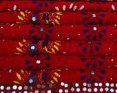 Vintage Dupatta Phulkari Veil Hand Beaded Indian Traditional Red Women Wrap Used Long Scarf Georgette Fabric Upcycled Hijab DP8743