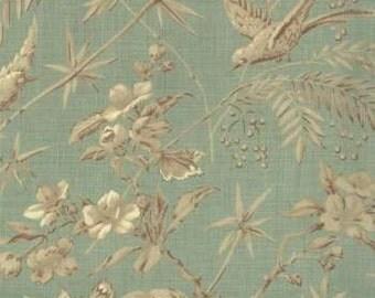La Belle Fleur by French General - Soft Green Bird - Soft Aqua- 1/2yd