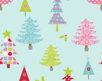 Christmas Trees - Blue - 1/2 yard