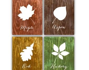 PRINTABLE Fall Leaves Wall Decor // 8x10 JPEG files // 4 Piece Set // Wall Art // Maple Aspen Oak Hickory // Kitchen Art // Rustic // Modern