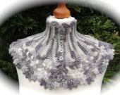 Crochet neckwarmer/scarf. Handmade in grey.