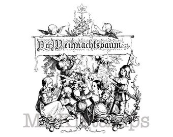Vintage German Christmas stamp / Children under the christmas tree / Unmounted rubber stamp  (130511)