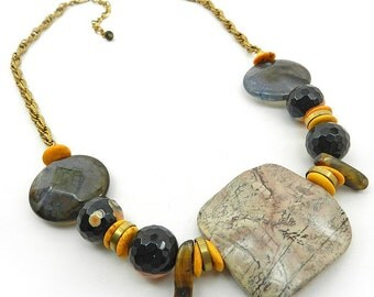 Chunky Stone Necklace Earthy Yellow Black : Statement Necklace With Gemstones - Mixed Stone Necklace Gemstone Statement Jewelry