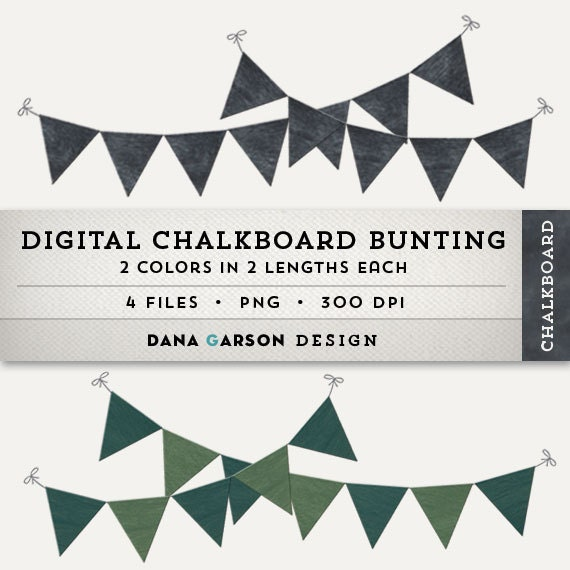 Digital Chalkboard Bunting or Flags for invites, scrapbooking ...