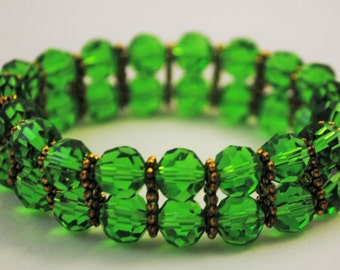 Emerald and gold bracelet