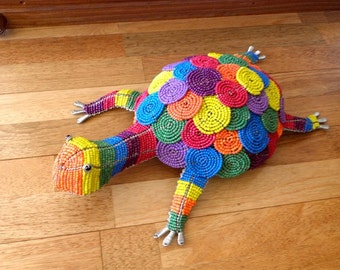 African Beaded Wire Animal Sculpture - TORTOISE - Rainbow