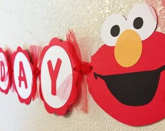 Elmo Birthday Banner boys girls party decorations red white