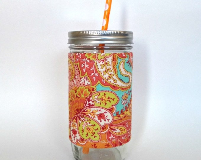 Turquoise and Orange Paisley Mason Jar Tumbler 24oz Cup Insulated Fabric Cozy w BPA Free Straw - Travel Mug Great Gift