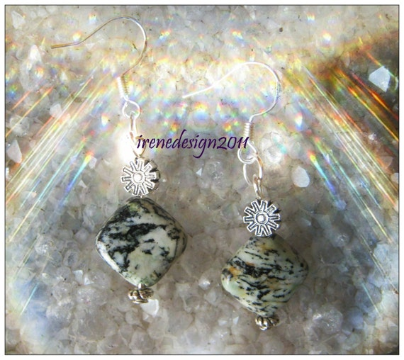 Handmade Silver Earrings with Square Agate & Flower by IreneDesign2011