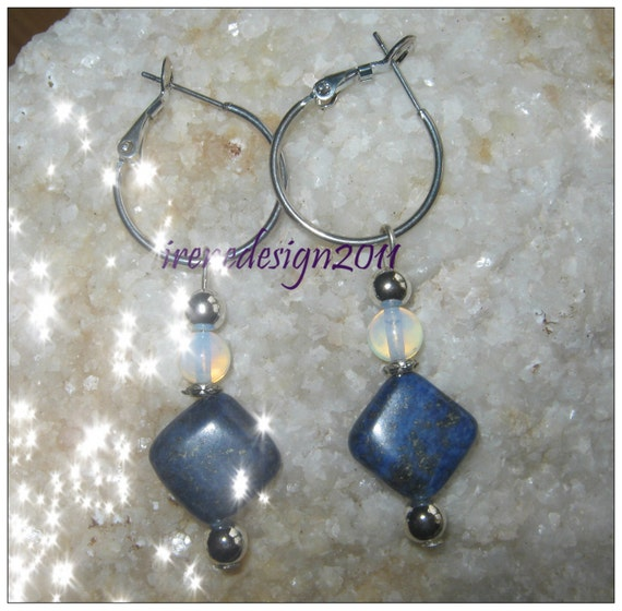 Handmade Silver Hoop Drop Earrings with Lapis Lazuli & White Opal by IreneDesign2011