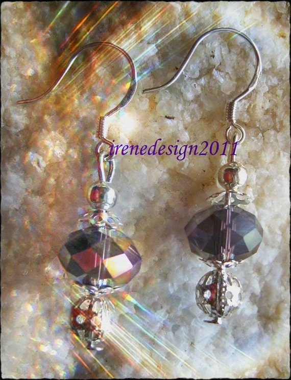 Beautiful Silver Hook Earrings with Swarovski & Silver Bead by IreneDesign2011