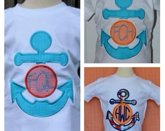 Personalized Anchor Applique Shirt or Onesie Boy or Girl