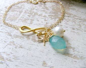 Aqua Infinity Bracelet 14k Gold Filled Aqua Bracelet Starfish Bracelet Starfish Earrings Pearl Beach Wedding Bridesmaid Gift aqua jewelry