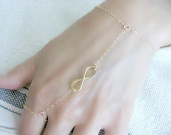 Hand Chain Ring Hand Chain Ring Bracelet Infinity Ring Bracelet 14k Gold Filled Infinity Slave Bracelet Infinity Finger Bracelet,Hand chain