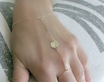 Gold Hand Chain Ring Initial Ring Bracelet Custom Hand Stamped Initial Initial Bracelet Initial Slave Bracelet Finger Bracelet Ring Chain