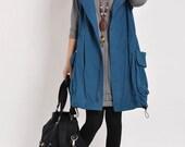 Blue Cotton Vest Waistcoat cotton dress women long coat casual loose coat cotton coat large size dress cotton blouse plus size coat
