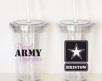 Proud Army Daughter-  Personalized Acrylic Tumbler, Kid Size