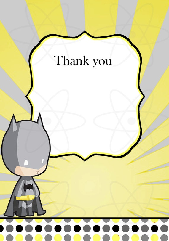 to instant download batman baby shower thank you card on etsy