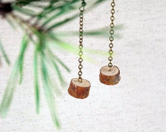 Handmade Natural Pine Wood Earrings. Brass color Chain. Eco friendly. Perfect Gift for Nature lovers. Made in Latvia