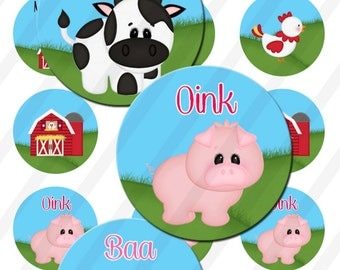 INSTANT DOWNLOAD Farm  4x6 Bottle Cap Images Digital Collage Sheet for bottlecaps