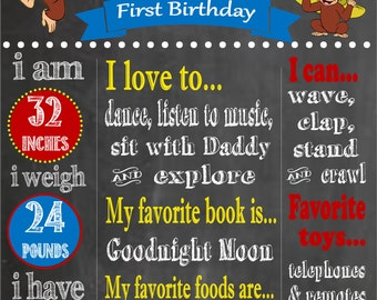 Curious George Printable First Birthday Chalkboard- Curiou George Birthday Party- Curious George