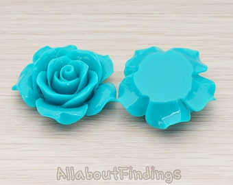 CBC157-07-TE // Teal Colored 35mm Angelique Rose Flower Flat Back Cabochon, 2 Pc