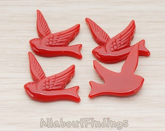 CBC70-DR // Dark Red Colored Bird Flat Back Cabochon, 4 Pc