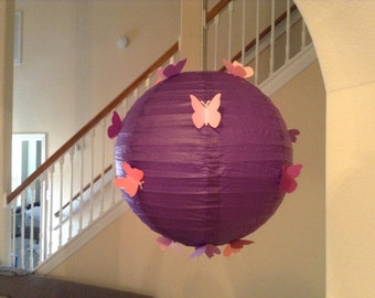 "12"" Purple Diva, paper lantern, butterfly lantern, nursery lantern, butterfly party, butterfly decor, hanging ceiling decor, room decor"