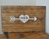 PERSONALIZED-  Hand Painted Wood Sign, HEART with ARROW, Wedding Guest Book