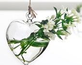 Heart Glass Hanging Planter Container Vase Pot Home Wedding Decoration Wall