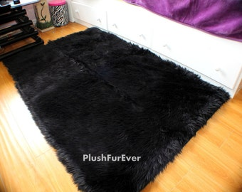 Delightful Plush Faux Fur Area Rug Contemporary Modern Living Room Rug High Quality  Custom