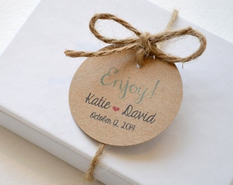 Enjoy Kraft Round Matte Label Tags - Custom Wedding Favor Tags, Hang Tags & Gift Tags