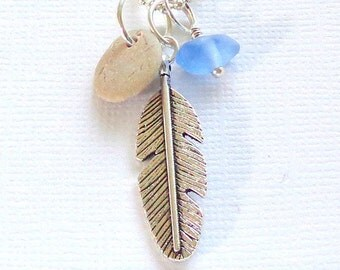 Feather Seaglass Beach Stone Pendant